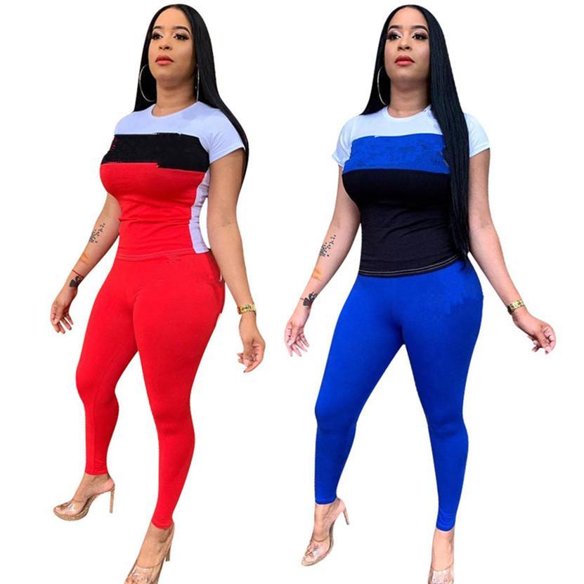 S-2XL 플러스 사이즈 여름 복장 여성 Jogger 정장 스트레치 트랙스 짧은 소매 티셔츠 + 바지 두 조각 세트 스포츠웨어 블루 글자 Sweatsuits 1017