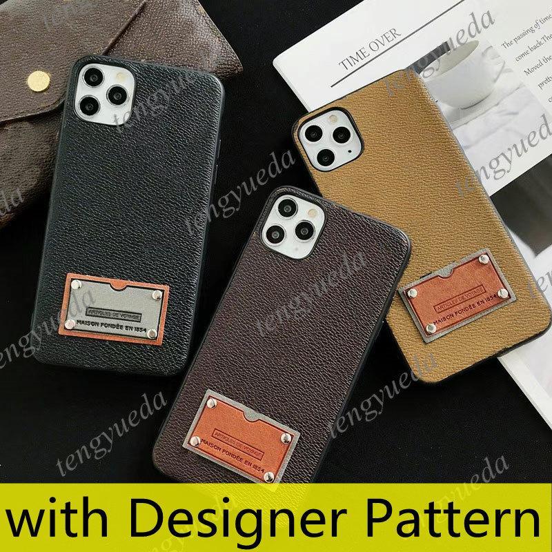 أعلى الأزياء مصمم الحالات الهاتف لآيفون 12 11 برو ماكس xs xr xsma 7 8 زائد جودة عالية tpu الجلود عصا العلامة غطاء الهاتف المحمول الفاخرة