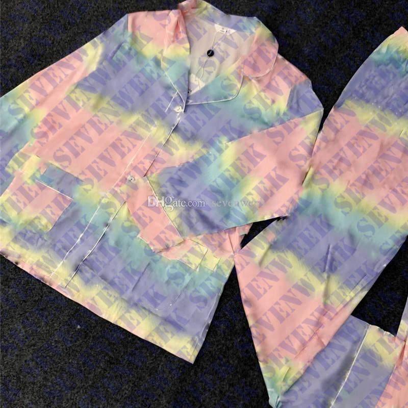 Красочные буквы женщин пижамы пижамы набор домашняя одежда с длинным рукавом шелковый сатин женские пижамы сексуальные дамы домашняя одежда две части наборы