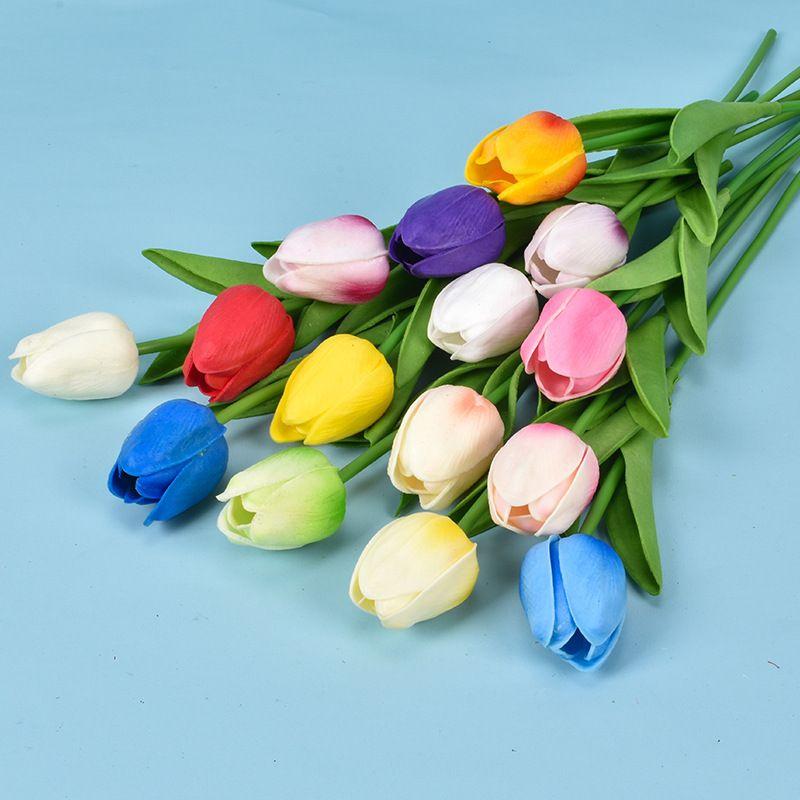 19 ألوان بو زهرة الاصطناعية توليب باقة 34 سم / 13.4 بوصة مصغرة ريال بلمس الزهور