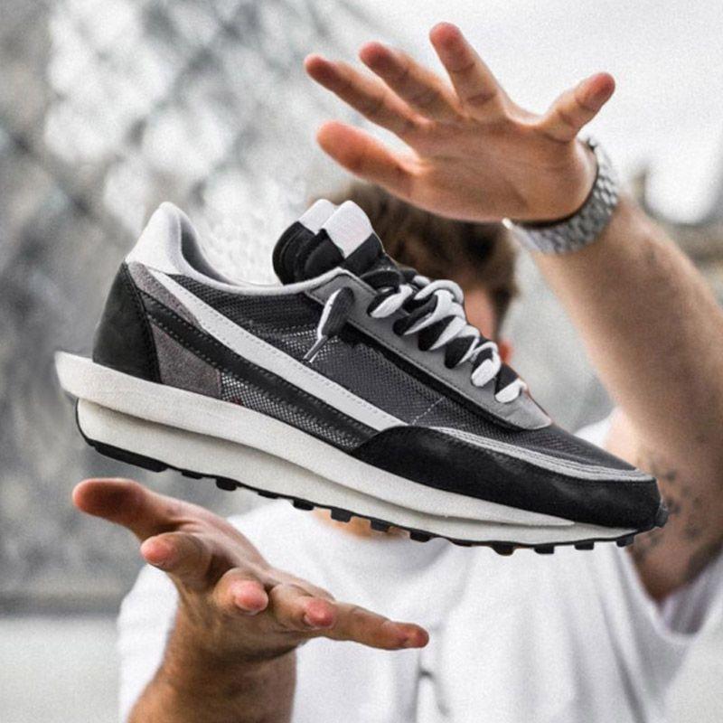 HABERLER X LDV Waffle Daybreak Koşu Ayakkabıları Eğitmenler Erkek Kadınlar için Moda Tasarımcısı Nefes De Tripe S Siyah Spor Sneakers