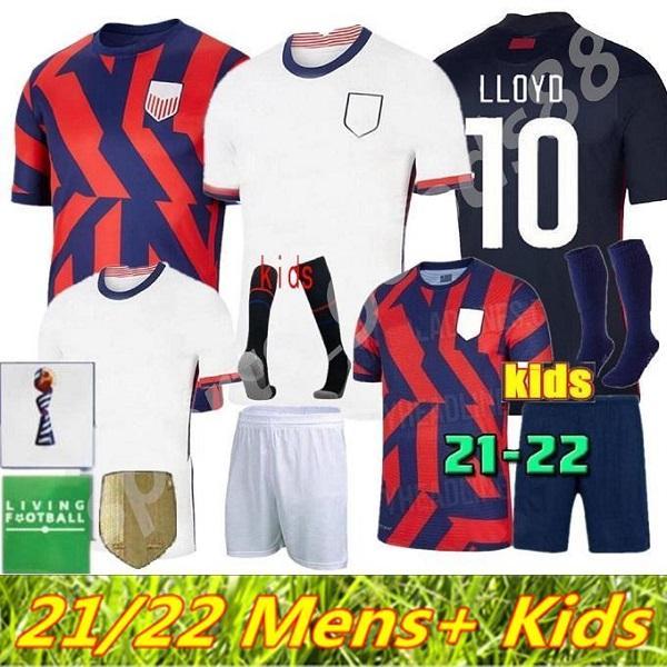2021 2022 Männer Kinder Fußballtrikots Christian Pulisic Jersey 21 22 Alex Morgan Julie Ertz Megan Rapinoe Presse Lloyd Heath Yedlin Dempsey Krieger Football Shirt