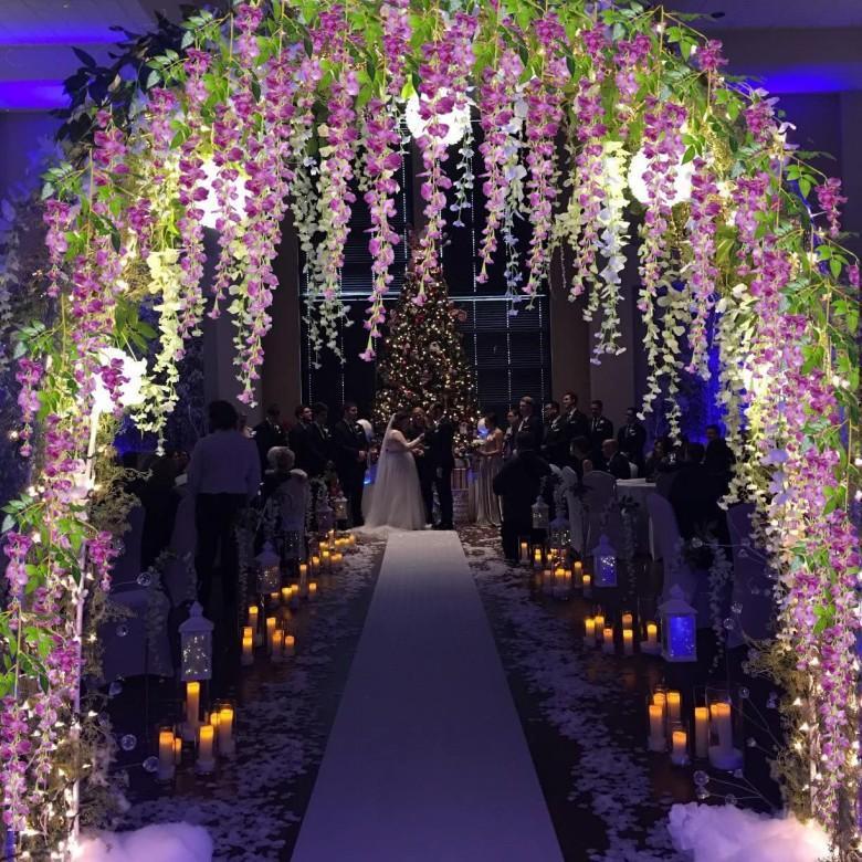 110 cm Uzun Zarif Yapay İpek Çiçek Wisteria Vine Rattan Düğün Centerpieces Süslemeleri için Buket Garland Ev