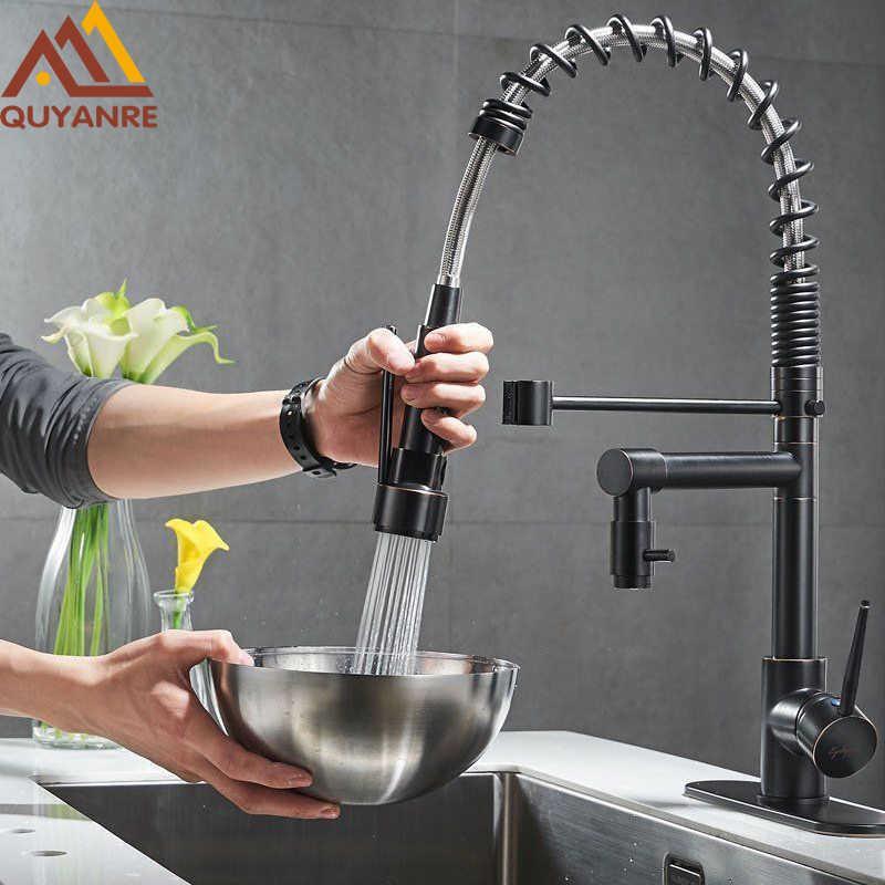 Blackend Primavera Faucet da Cozinha Pull Out Lar Spass Dual Spout Misturador Misturador Torneira Torneira Torneira 360 Rotação Torneiras de Cozinha 210724