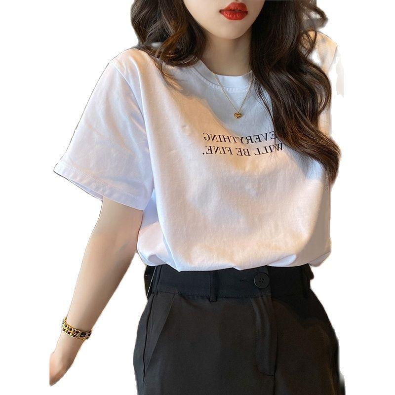 Women's T-Shirt Tops Shirt 100% Cotton Short Sleeve Dress 2021 Letters Loose Top Students Render Small Unlined Upper Of Ins-.com