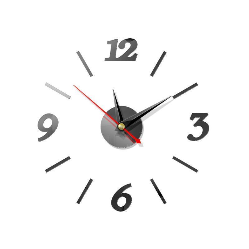 스티커 미러 표면 아크릴 엘 침실 포인터 디지털 홈 장식 DIY 사무실 현대 큰 배터리 전원 벽시계 시계