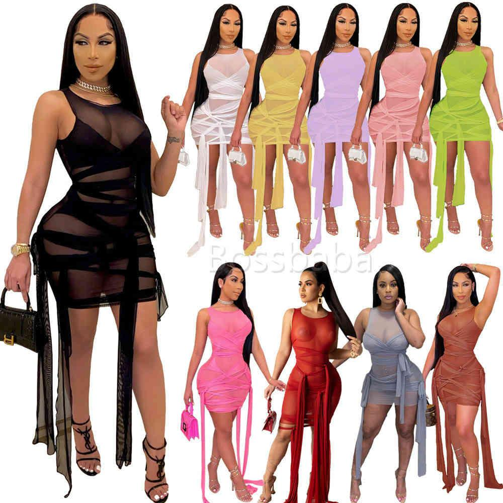 Summer Dress Women Mesh Perspective Bandage Sleeveless Sexy Party Skirt Elgant Summer Bodycon Club Wear 835