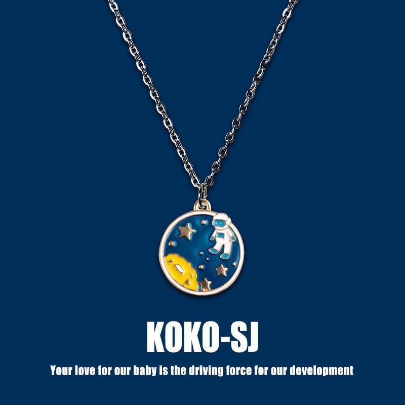 الإبداعية spaceman نجمة السماء قلادة الهيب هوب رائد الفضاء kpop زوجين اكسسوارات مجوهرات قلادة للنساء سحر سلسلة قلادات