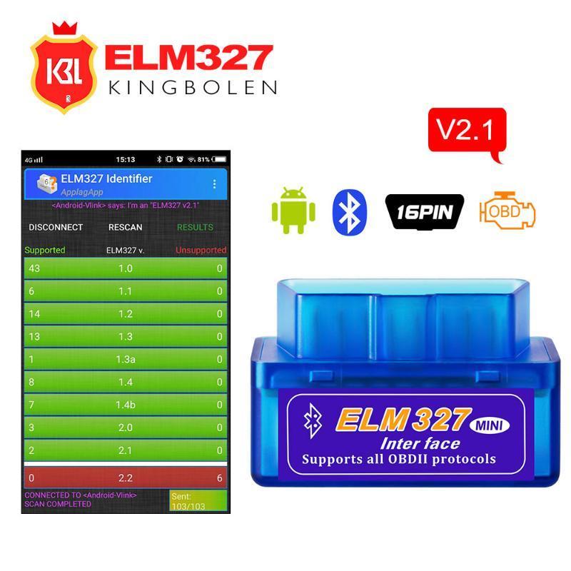 Code Readers & Scan Tools ELM327 V2.1 Bluetooth OBD2 Car Diagnostic Tool Super Mini ELM 327 V 2.1 Reader For 12 Android
