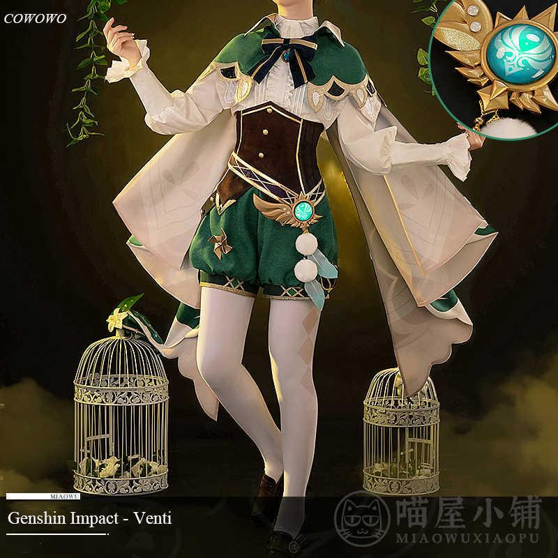 Anime! Genshin Impact Venti Game Suit Gorgeous Lovely Uniform Cosplay Costume Halloween Carnival Party Outfit For Women 2020 NEW Y0903