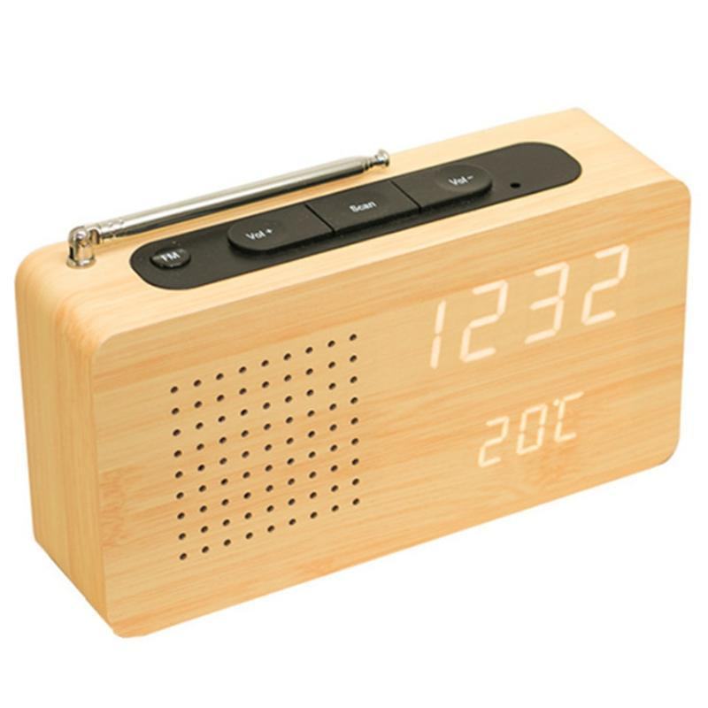 Radio Bamboo LED Display elettronico con orologio Desktop Mini Temperatura domestica portatile