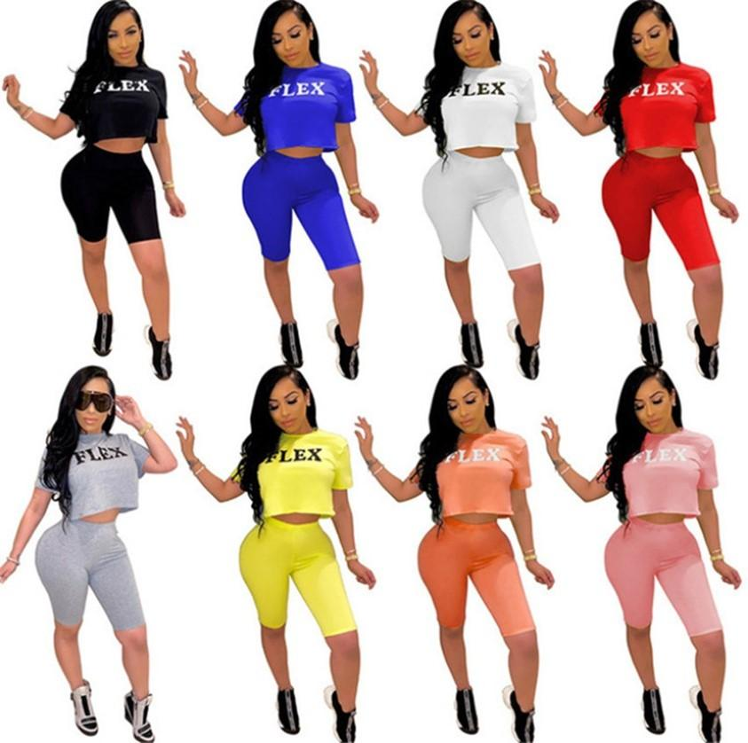S ~ 5xl de verão yoga sweatsuits plus size mulheres tracksuits jogging terno letras roupas de dois pedaços conjuntos Crop top + shorts ciclismo / motociclista sportswear manga curta tees 4852