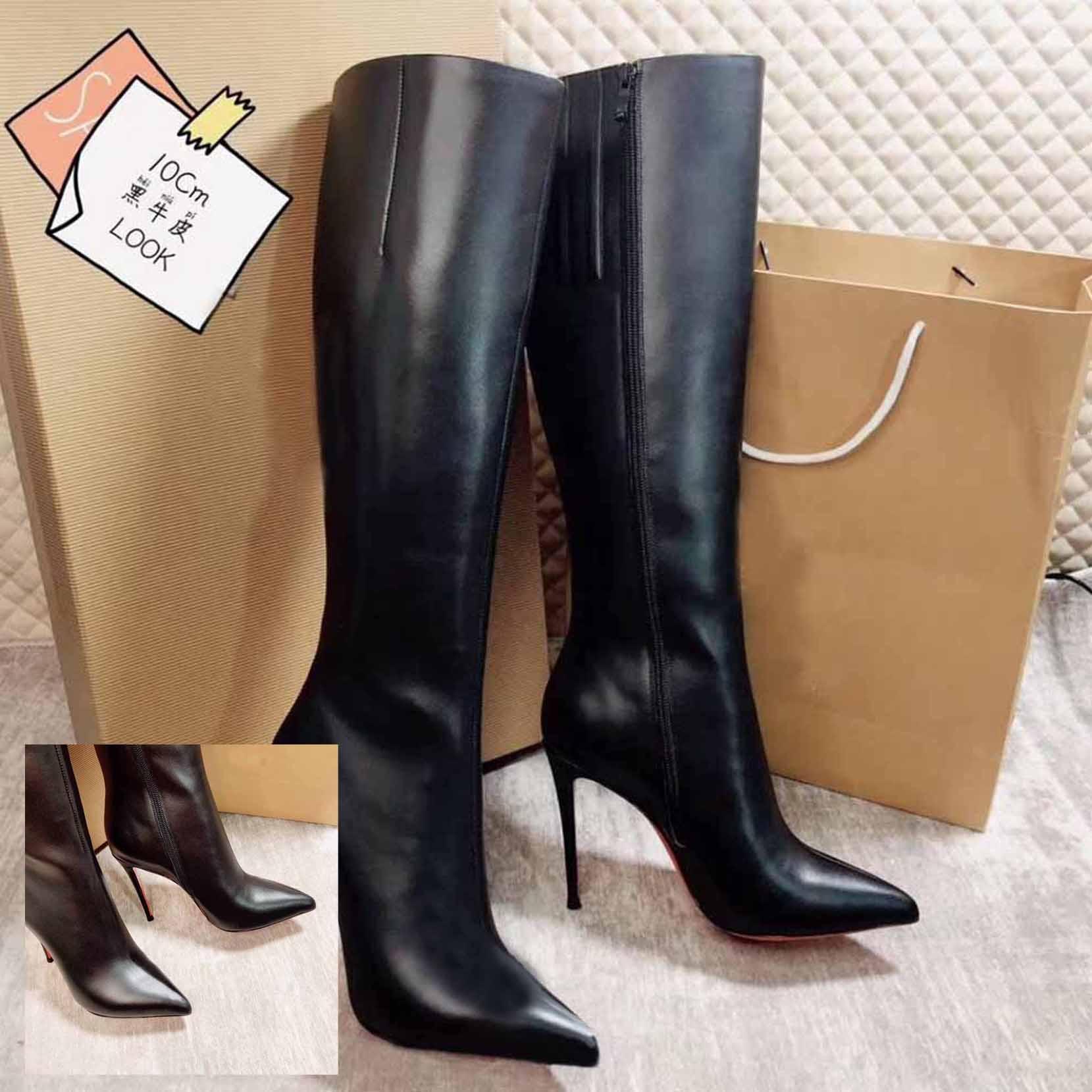 Moda donna sexy stivali rossi bottino bottino tacchi alti rossi-solens nero in pelle boot eloise pigskin all'interno della gamba alta donne vestito da sposa vestito da sposa borsetta borsetta