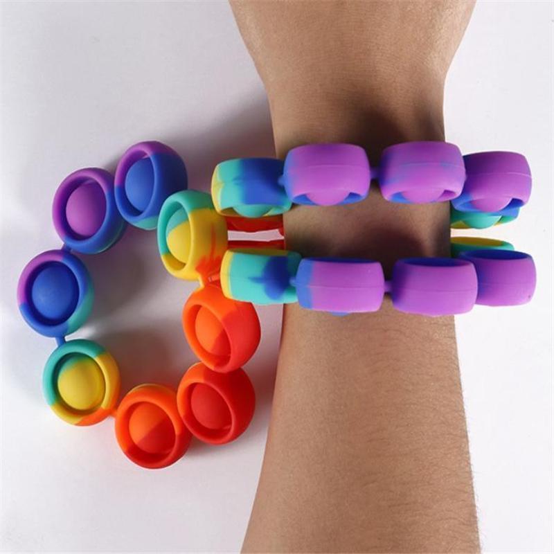 Push Bubble Decompression Fidget игрушки сенсорные кольца браслеты головоломки прессование пальцев пузырьки стресс браслет браслет браслет W12