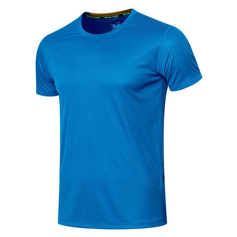 남자 스포츠 짧은 소매 여름 빠른 건조 옷 얼음 실크 스포츠웨어 블루 러닝 피트니스 티셔츠 조수