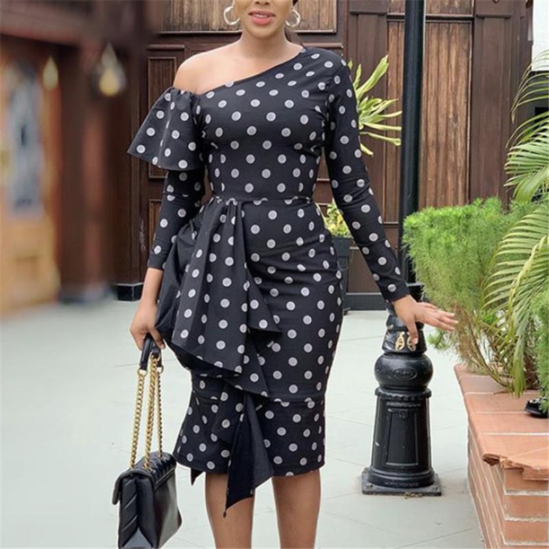 Vestidos Negros Lunares Estampados Para Mujer، Vestido de Retazos Con Volantes Y Un Hombro Al Aire، Manga Larga، Ceido، Elegante،