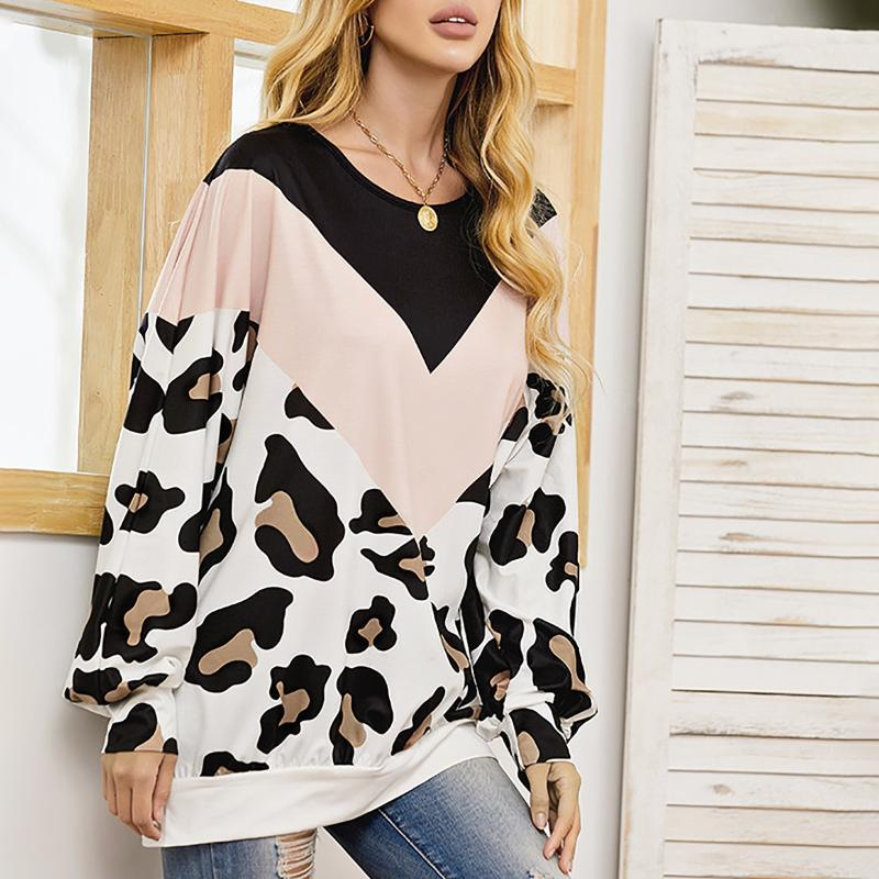 Women's Blouses & Shirts Autumn Pullovers Ladies Pullover Round Neck White Leopard Print Long-sleeved Loose Bottoming Shirt Stitching
