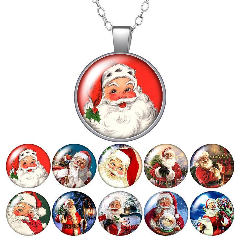 Frohe Weihnachten Santa Claus Geschenk Runde Anhänger Halskette 25mm Glas Cabochon Silber Farbe Schmuck Frauen Party Geburtstagsgeschenk 50cm