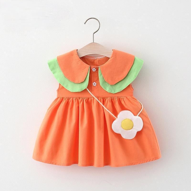 Vestidos de niña 2 piezas de verano princesa vestido nacido bebé ropa coreano dibujos animados lindo algodón niños pequeños vestidos + bolsa pequeña niñas ropa