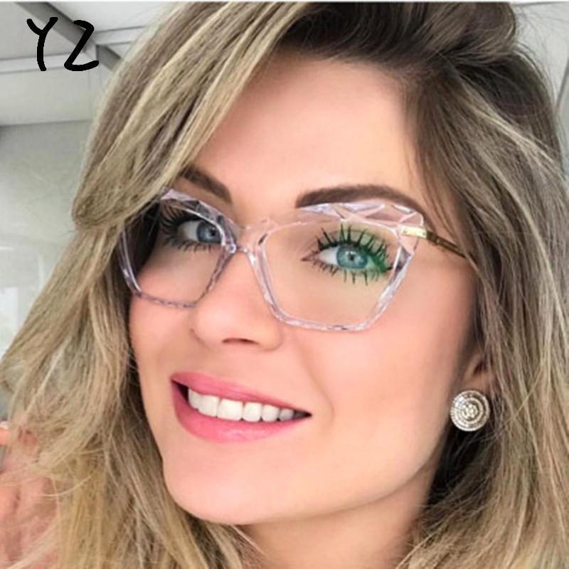 Bicchieri di moda Cat Eye Crystal Multi-sfaccettato Anti-Blue Light Ladies Metal Frame Vintage Brand Designer Occhiali da sole Occhiali da sole Ottici