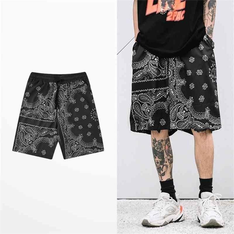Retro Japon Tarzı Şort Erkekler Rahat Giyim Hip Hop Kaju Fıstığı Baskı Kısa Pantolon Gelgit Marka Kaykay Sokak Erkek Şort 210324