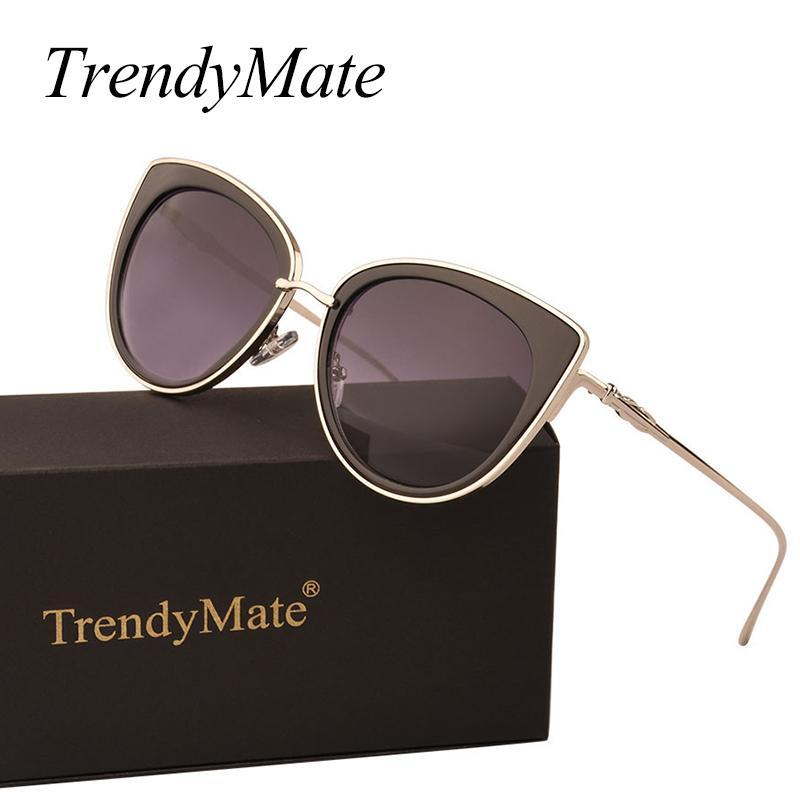 Trendymate 2021 여성을위한 귀여운 고양이 눈 패션 태양 안경 711 케이스와 함께 렌즈 선글라스