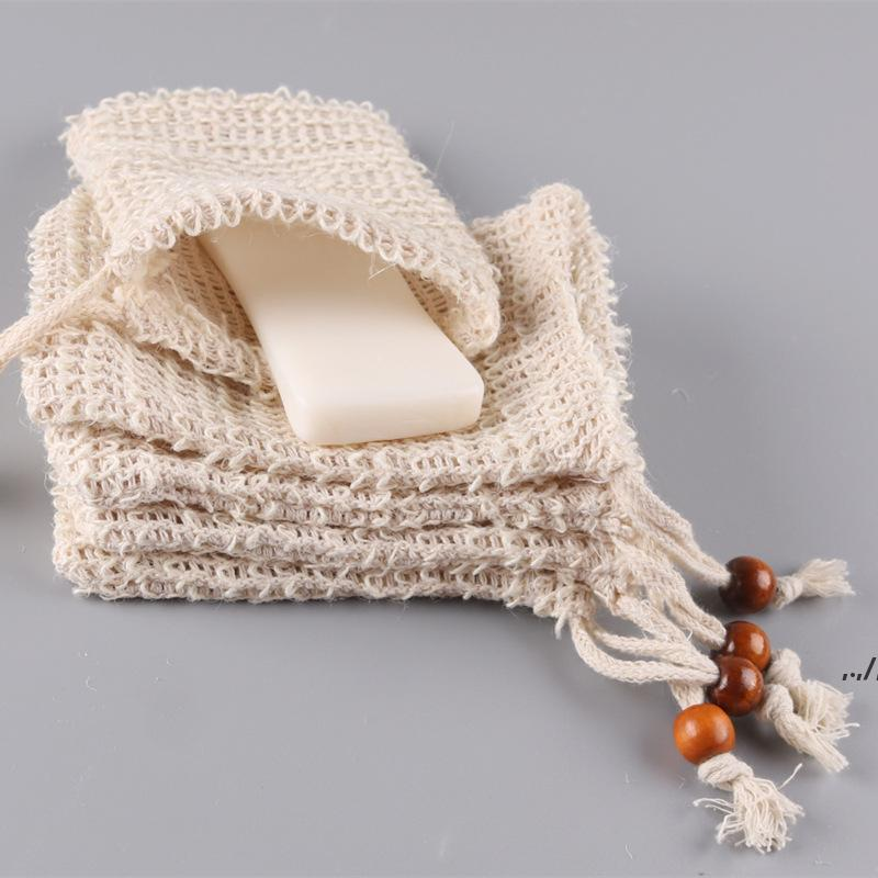Soap Bag Bath Brushes Making Bubbles Pouch Storage Drawstrings Bags Skin Surface Cotton Linen Cleaning Drawstring Holder Baths AHB6993