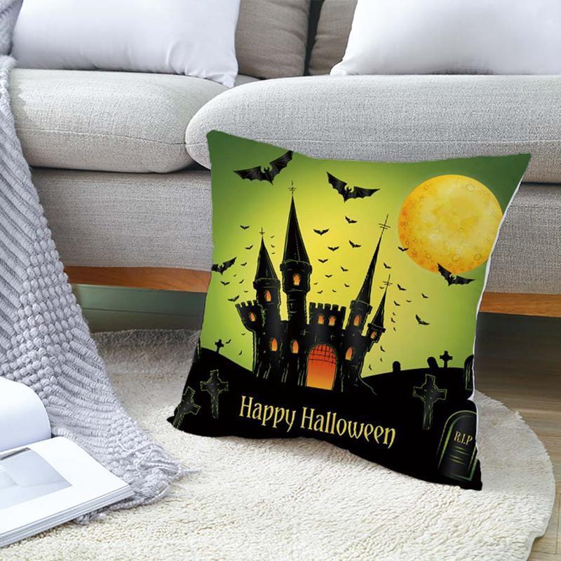 Kissen / dekoratives Kissen Happy Halloween Horror Fall Schlafzimmer Sofa Auto Taille Kissen Abdeckung Demon Pumkin Katze Ghost