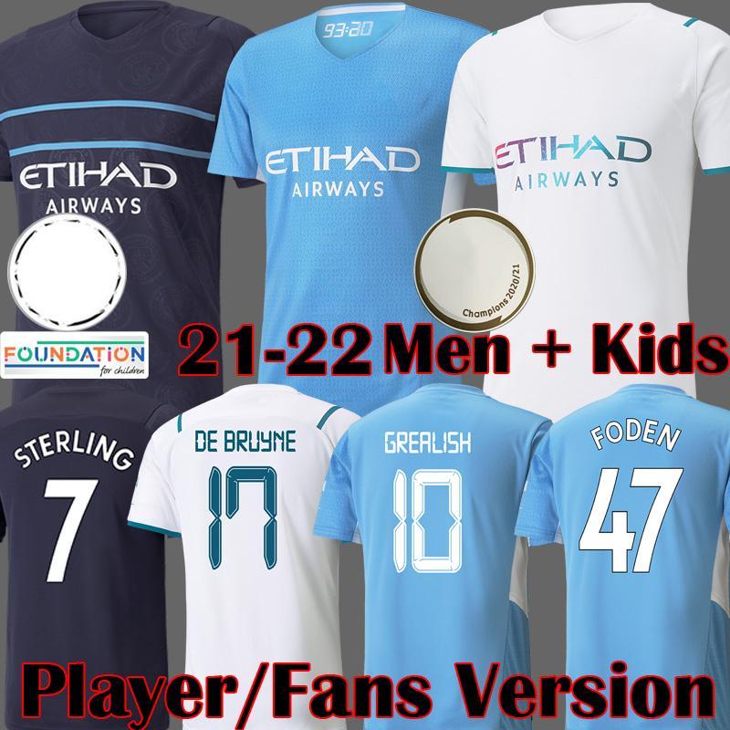 2021 City Ronaldo Soccer Jerseys Versão Grealish Versão Manchester Futebol Camisa Fora Branco Colorido Foden de Bruyne Ferran 2022 Equipamento 21 22 Homem Kits Kits Tops