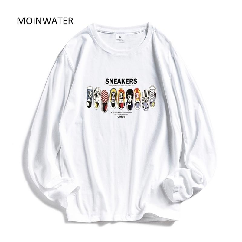 Moinwater Mulheres Casual Impressão Manga Longa t - shirts Senhora algodão preto moda tops feminino branco camiseta MLT1908 210322