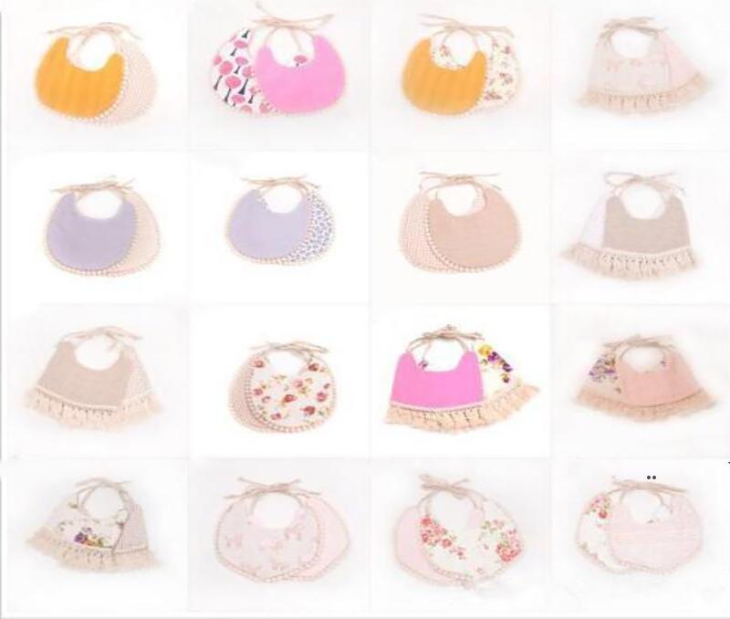 Baby Bibs Infant Cartoon Floral Burp Cloths INS Fashion Bandana Waterproof Pure Cotton Saliva Bibs Kids Double Layer Tassel Bibs BWC6976