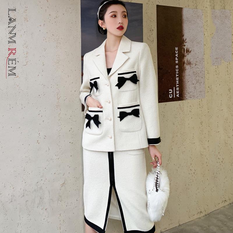 Damen Frühling Herbst Zwei Stück Anzug Bogen Wollmantel Einzige Breasted A-line Split Rock Korean Japan Stil 2A3316 210507