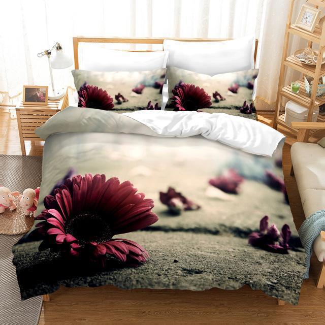 Bettwäsche Sets Simple Chrysantheme Set Luxus Duvet Cover Sunflower Quilt Digitaldruck Rose Bettwäsche Mode Design