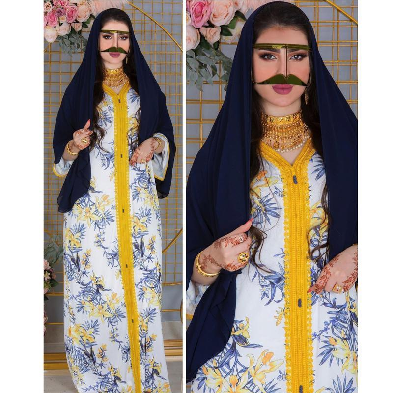 Roupas étnicas Islâmicos Mulheres Abaya Vestido Floral Impressão Muçulmana Dubai Kaftan Eid Mubarak Moda Fashion Party Partido Outfit Lace Loose Elegante