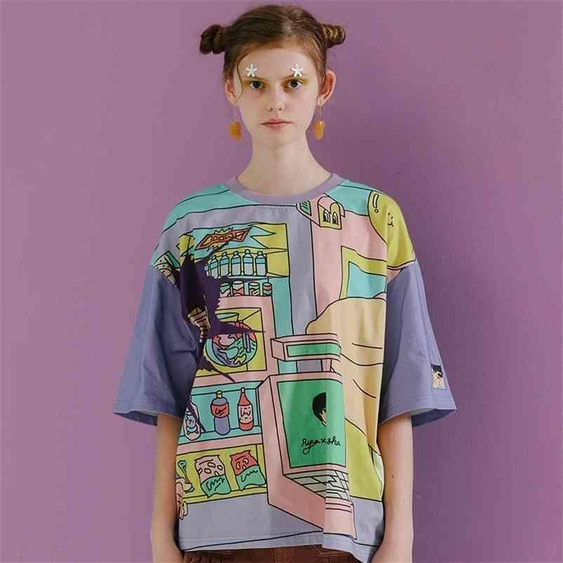 Harajuku Original Graffiti Womens Loose Camiseta Tops O Neck Manga Curta Senhoras Camisetas Cores Misturas Verão Novo T Shrit 210320