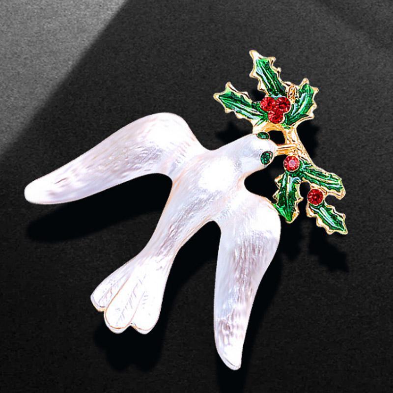 Zlxgirl blanc émail blanc colombe forme des broches animaux bijoux pour femmes et hommes couple cadeaux cadeaux dessin animé hijab accessoire broches,