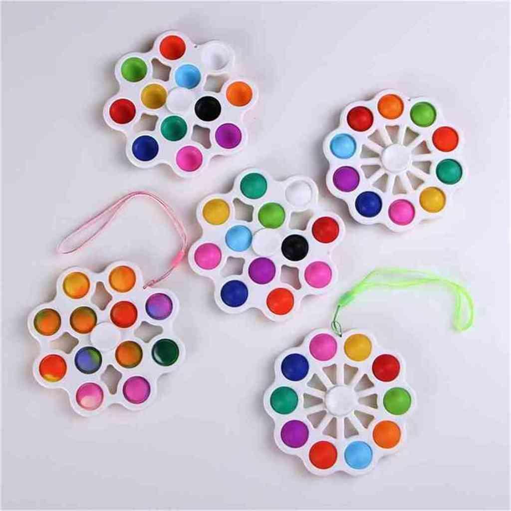 Con Lanyard Fidget Toys Bubble Poppers Key Ring Push Pop Spinner Tablero Alivio de estrés Decompresión Burbujas Squishies DNA Stress Ball Fidgets G50YJ6E