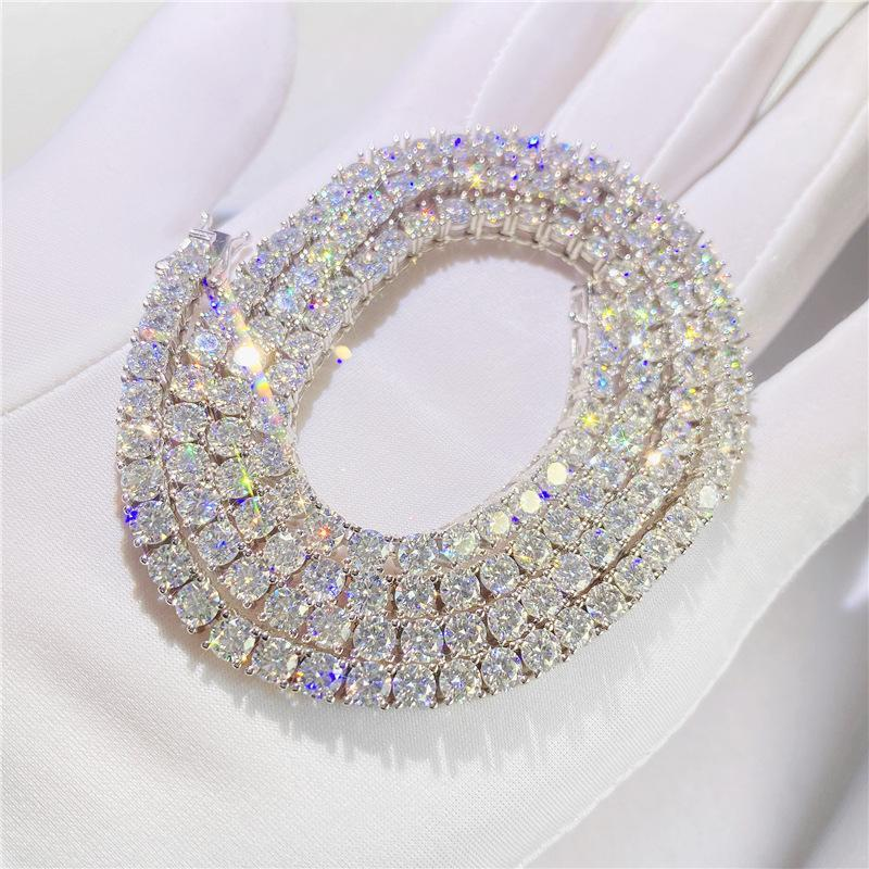Ketten 100% S925 Sterling Silber 3mm D Farbe Moissanite Tennis Kette Halskette für Männer Hiphop GRA Zertifikat