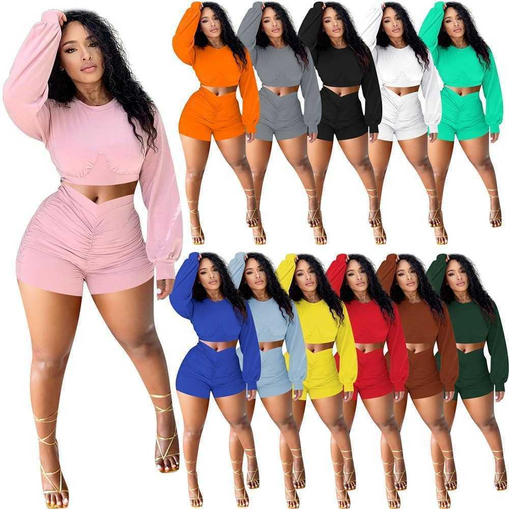 Solid color Casual Women's Tracksuits Two Piece Sets Women Full Sleeve Crop Top+ruched Bodycon Shorts Matching Sets Loungewear Outfits S-XXL