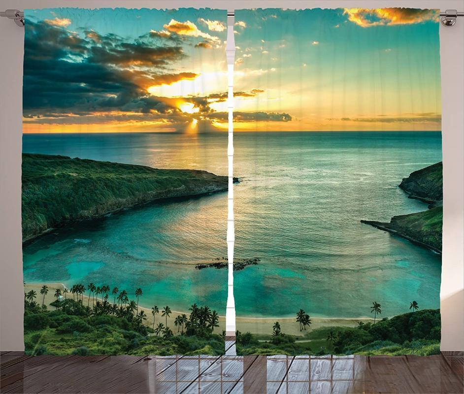 Vorhangvorhänge Hawaiische Vorhänge Sonnenaufgang über Hanauma Bay Oahu Hawaii Sunbeams durch Wolken Küstenlinie Wohnzimmer Schlafzimmerfenster