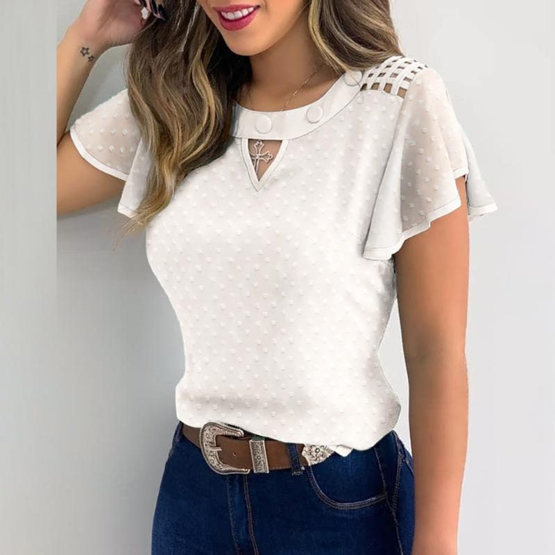 Elegant Butterfly Short Sleeves Blouse Shirts Women Summer Blouses Polka Dot Ruffle Tops Casual Hollow Out Loose Pullover Q30 Women's &