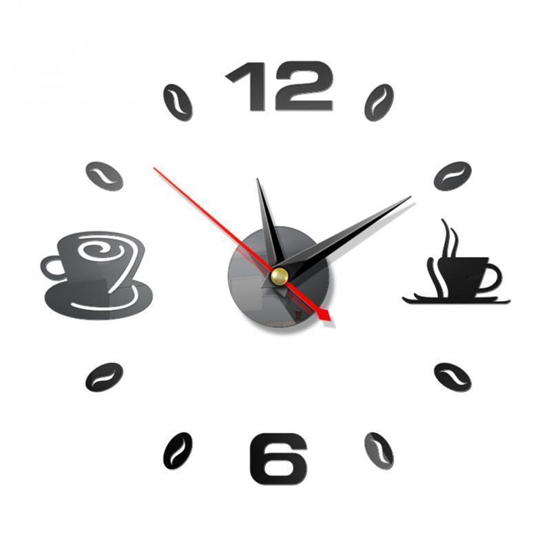 Wall Clocks Clock Stickers Self Adhesive Coffee Cup DIY 3D Three-dimensional Art Acrylic Mirror Modern Decor