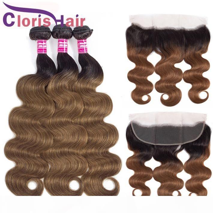 Colorie Auburn Body Wave Ombre Weave 3 Bundles avec fermeture Vierge brute Indian Human Hair Dentelle Frontal avec des paquets T1B 30 Extensions blonde