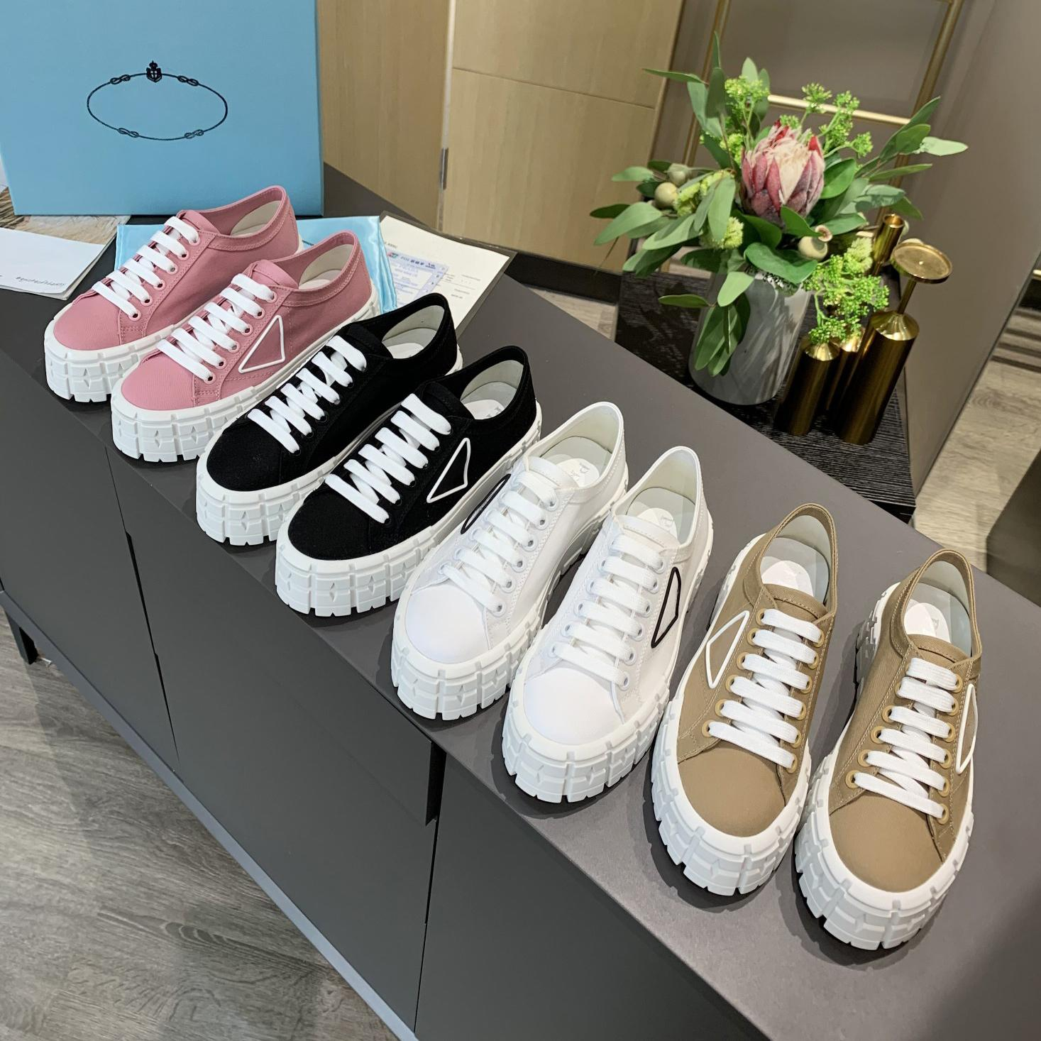 Frauen Nylon Niedrig Tops Gabardine Sneakers Rad Cassetta Stylisy Schuh Dame Mode Casual Schuhe Triple Black Whith Leinwand Platform Sneaker