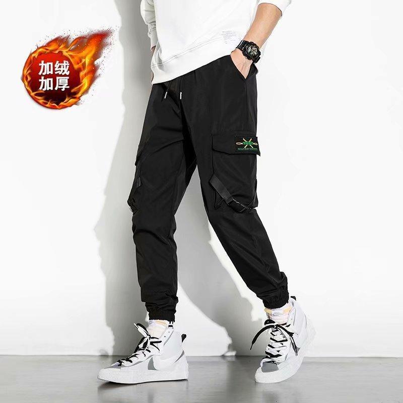 Streetwear 남자 힙합 조깅 바지 리본 루스 패션화물 남성 레저 조깅 남자 하렘 바지 5XL