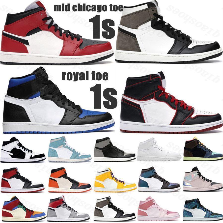 2021 sapatos de basquete quente 1s top obsidian UNC Dermeado Phantom Turbo Verde 1 Backboard Phantom Gym Red Speak Sneaker Treinador Tamanho 36-46K18y