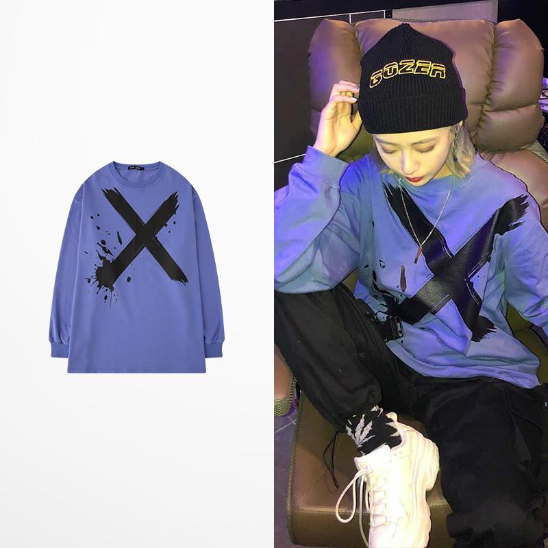 T de Kanye West Coast T Long-manga Hip Hop Homens High Street X Imprimir 100% Viking Camisa de Algodão Drake Almas T-shirt Homme