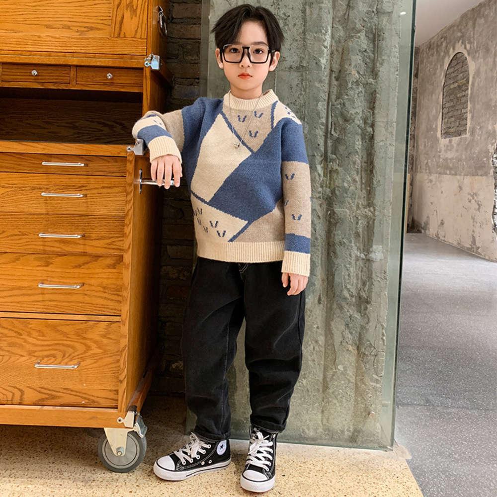 Kids Links Littch Ordinateurs d'hiver Middle School Couleur Pull Correspondant Pull Rond Col Pullover Ehl0