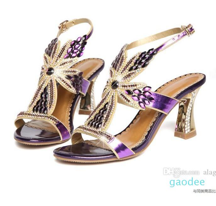 New Rhinestone Sandals Crystal High Heel Shoes Wedding Shoes Black Silver Gold Strappy Heels Sandales 8cm
