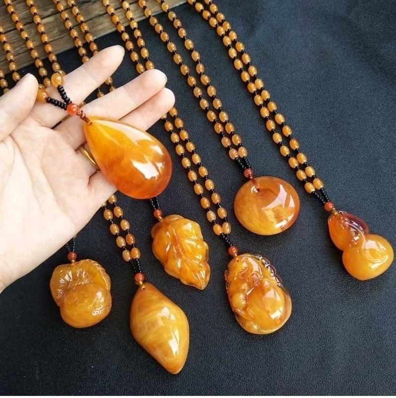 Урожай пчел янтарь кулон смолы бусины свитер цепи ожерелье Богемия старинные этнические длинные шарики ожерелье Waterdrop подвески ювелирных изделий подарок